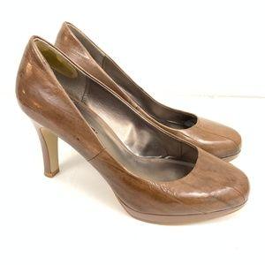 "Moda Spana Brown ""Wood Grain"" Pumps Heels 9M"